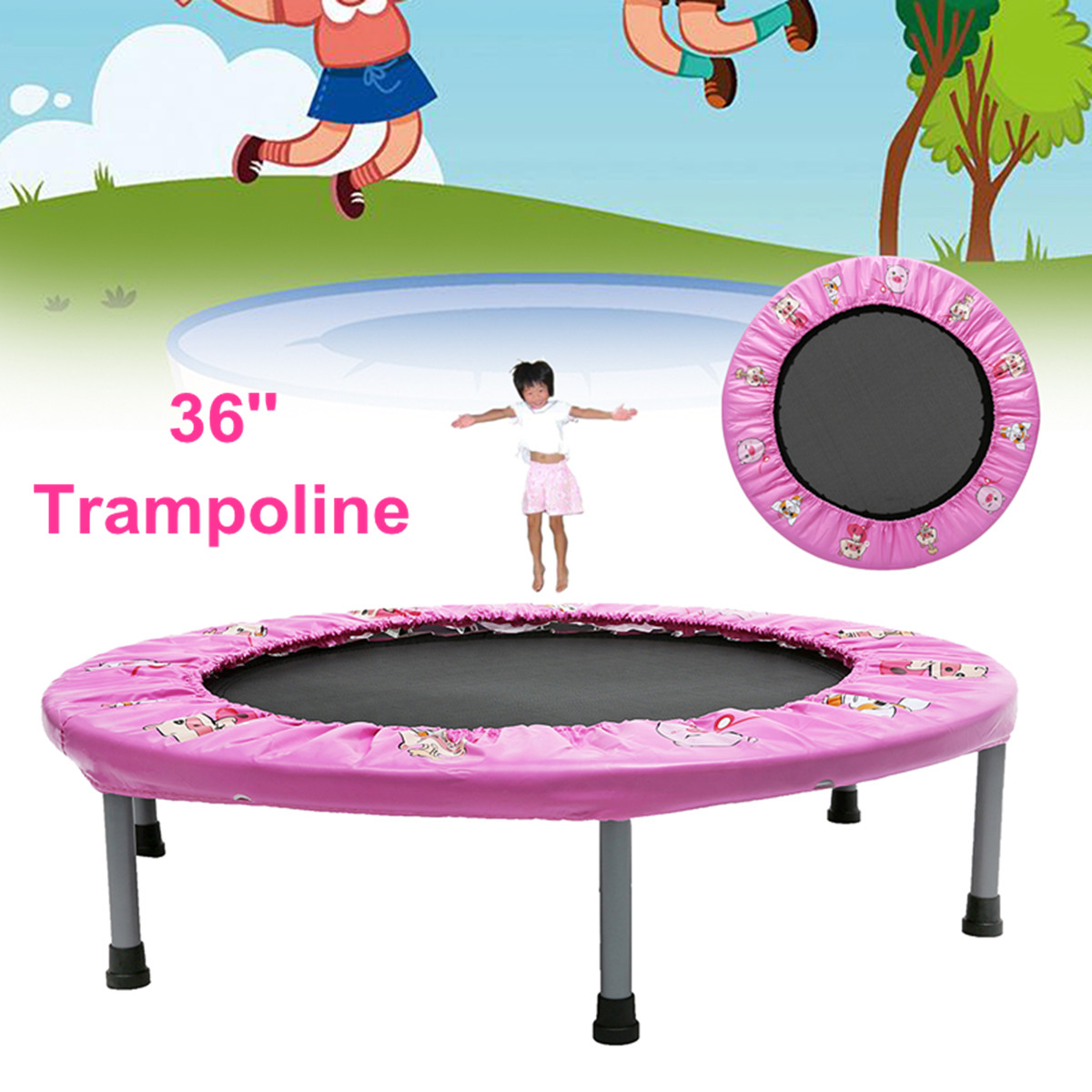 Moaere 36'' Mini Round Trampoline Kid Safety Spring Pad Home Workout Fitness
