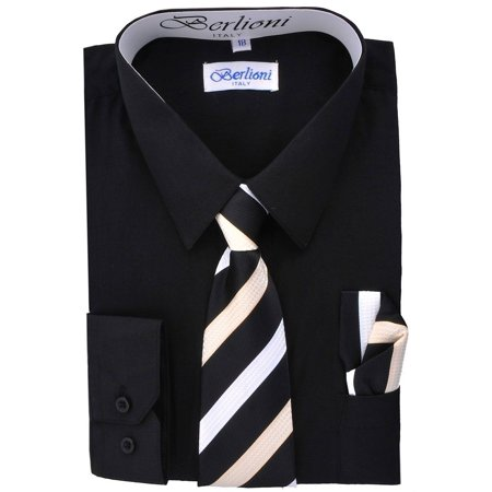 Boy's Fashion Solid Color Dress Shirt Tie and Hanky Set