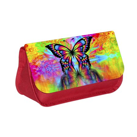Colorful Butterfly Reflection -  Red Cosmetic Case - Makeup Bag - with 2 Zippered Pockets - Butterfly Makeup