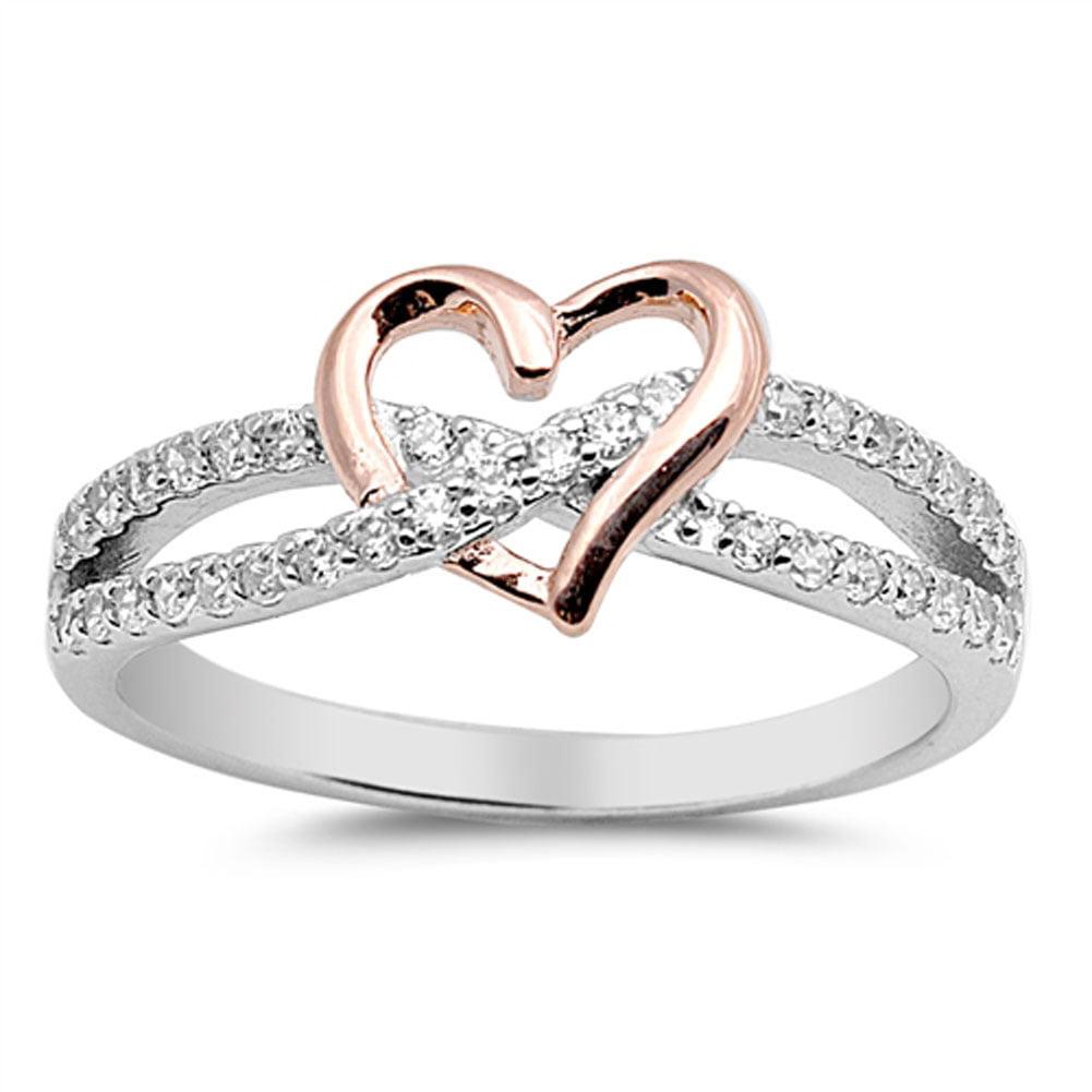 Rose Gold Tone Heart Promise Ring Sizes 4 5 6 7 8 9 10