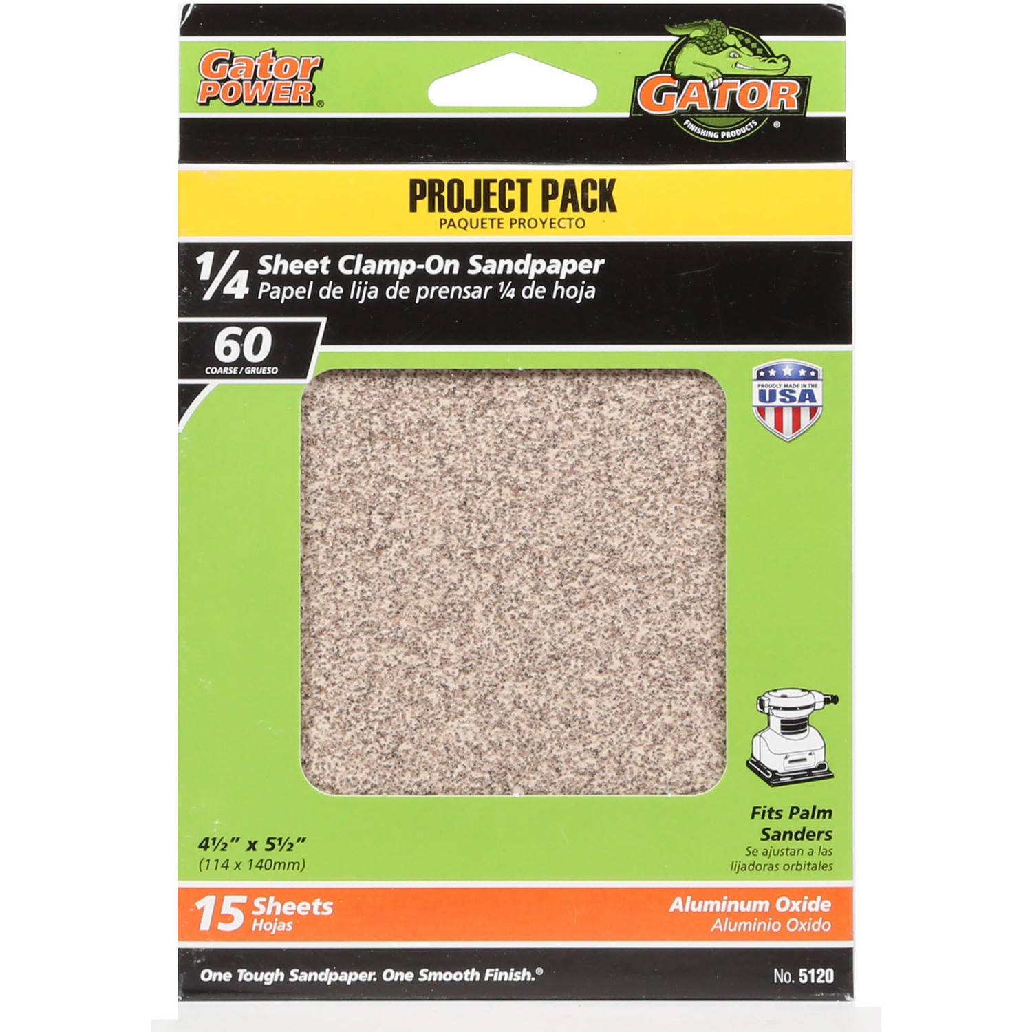 "Gator Grit 4.5"" x 5.5"" 1/4 Sheet Clamp-On Sandpaper, 60G, 15pk"