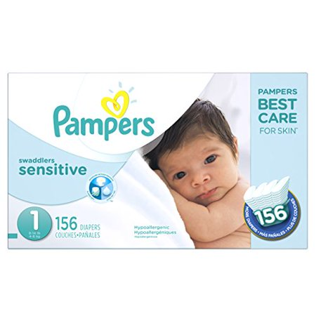 - Pampers Swaddlers Sensitive Disposable Diapers Newborn Size 1 (8-14 lb), 156 Count, SUPER ECONOMY