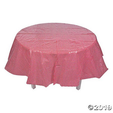 Red Gingham Round Plastic Tablecloth - Gingham Tablecloth Plastic