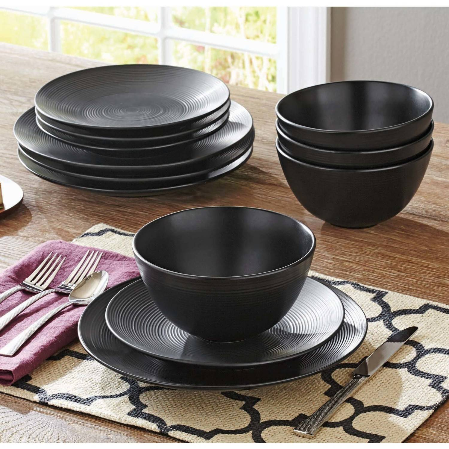 Better Homes And Gardens Matte Swirl 12 Piece Dinnerware Set, Black    Walmart.com