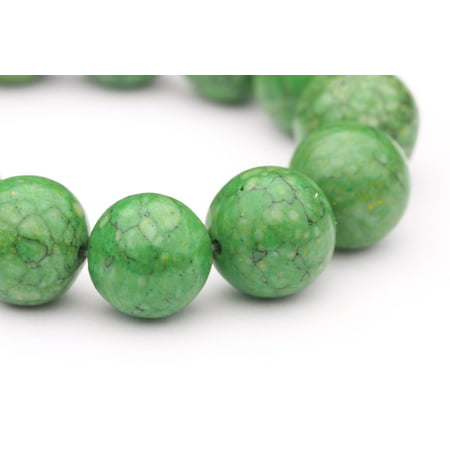 - Round - Shaped Green Man Made Turquoise Beads Semi Precious Gemstones Size: 16x16mm Crystal Energy Stone Healing Power for Jewelry Making