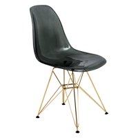 LeisureMod Cresco Modern Gold Eiffel Base Dining Side Chair in Black