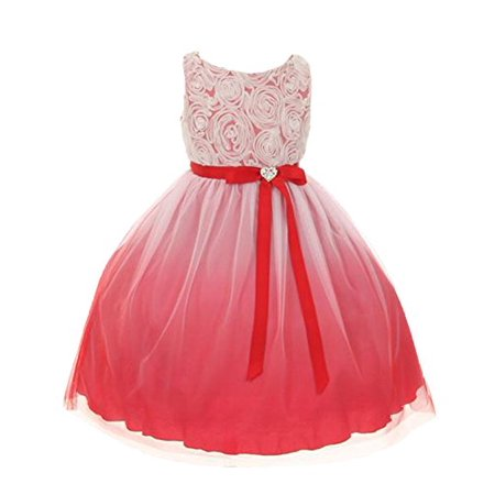 8a6be7384f2 Tulle Rosette Spring Easter Flower Girl Dress in Ombre (Red,8)