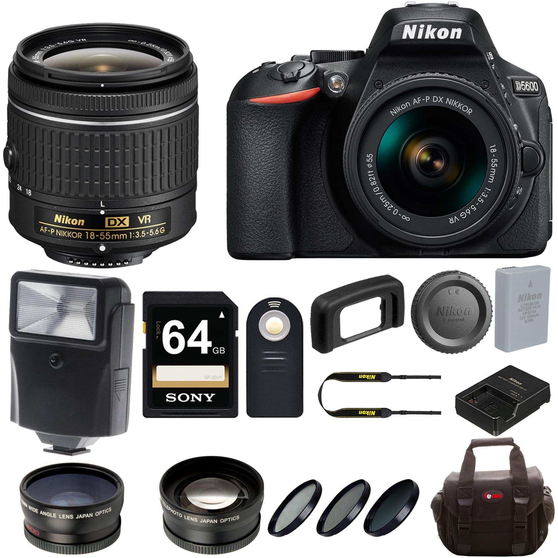 Nikon D5600 DSLR Camera w/ 18-55mm Lens & Sony 64GB Memor...