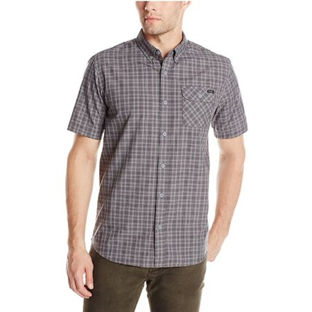 O'Neill Mens Emporium Check Short Sleeve Shirt (Dark Charcoal, (Men Emporium)