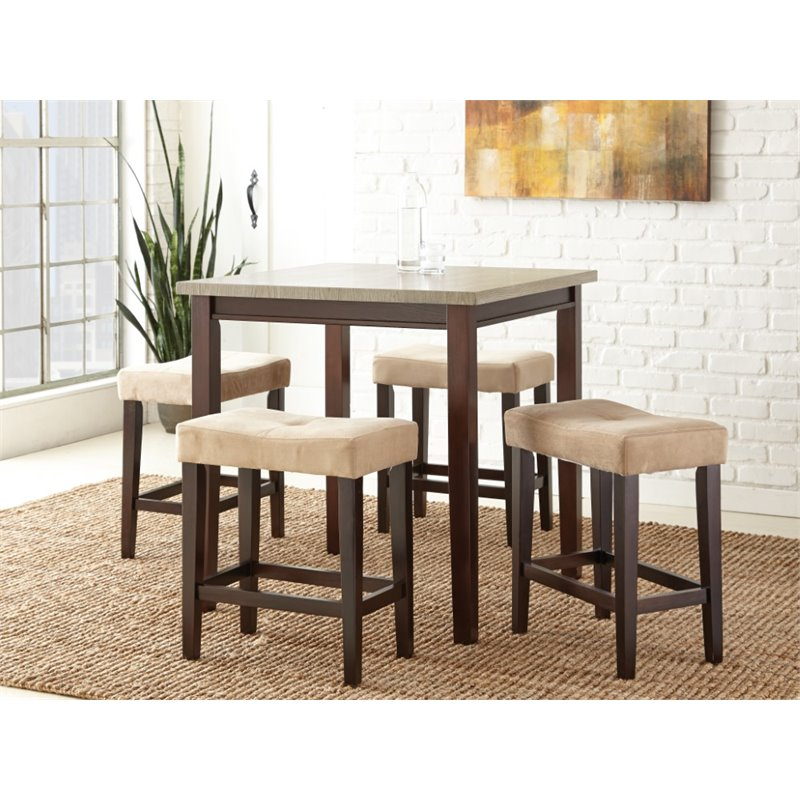 Steve Silver Aberdeen 5 Piece Counter Dining Room Set in Light Driftwood by Steve Silver Company