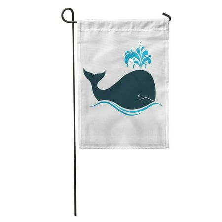 KDAGR Blue Spout Whale Water Fountain Blow Blowhole Splash Spray Simple Garden Flag Decorative Flag House Banner 12x18 inch