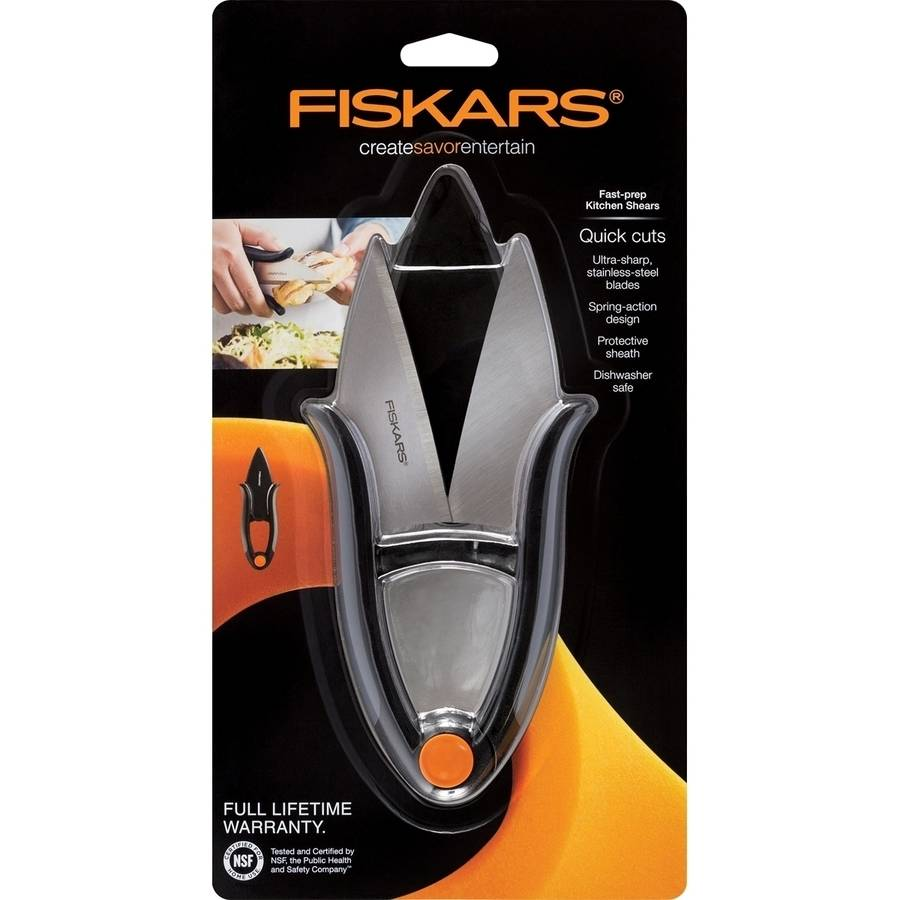 "7"" Fast Prep Kitchen Shears, Black Silver by Fiskars"
