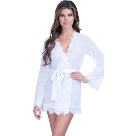 Womens Lace Sheer Sexy Sleepwear Robe Bathrobe Nightwear Dress Lingerie  Sets - Walmart.com 14a0935361e0
