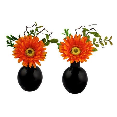 Red Vanilla Gerbera Daisy Arrangement In Glass Vase Set Of 2