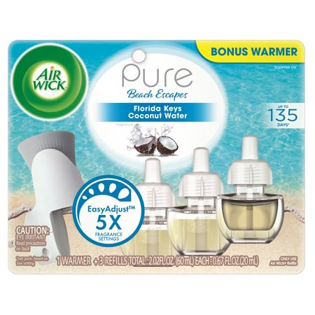 - Air Wick Pure Scented Oil Starter Kit (Free Warmer + 3 Refills), Florida Keys Coconut Water, Air Freshener