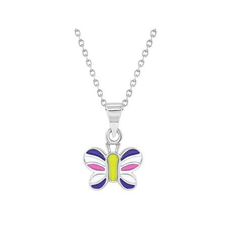 925 Sterling Silver Multicolor Enamel Butterfly Necklace Pendant for Girls - Multi Gemstone Butterfly Pendant