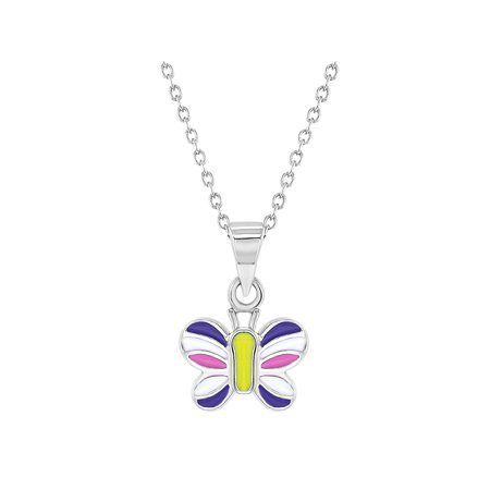 925 Sterling Silver Multicolor Enamel Butterfly Necklace Pendant for Girls 16