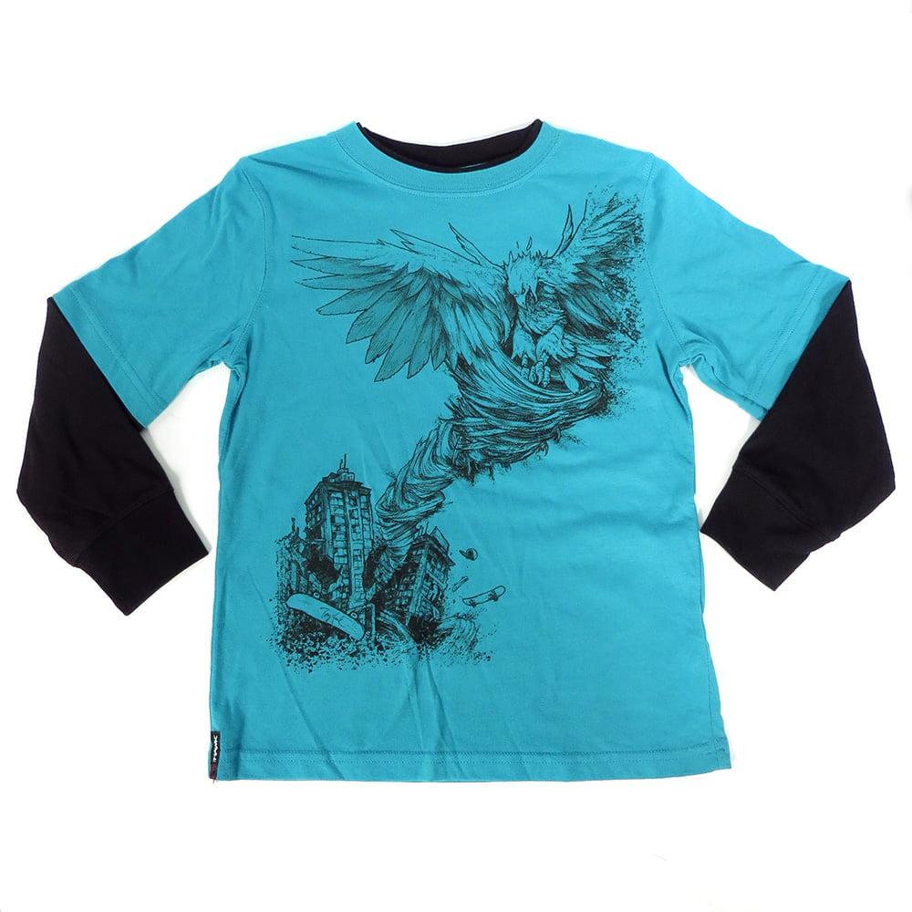 Tony Hawk Blue Black Skateboard Graphic Kids Long Sleeve Layered T-Shirt Top M L