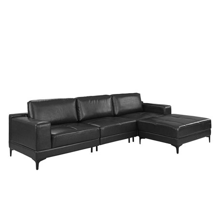 Amazing Modern Leather Sectional Sofa 114 9 Inch Living Room L Shape Couch Black Inzonedesignstudio Interior Chair Design Inzonedesignstudiocom
