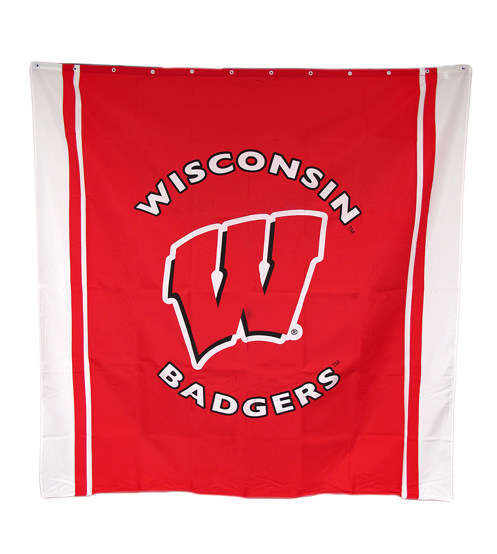 Wisconsin Badgers Fabric Shower Curtain 71 X 71 in.