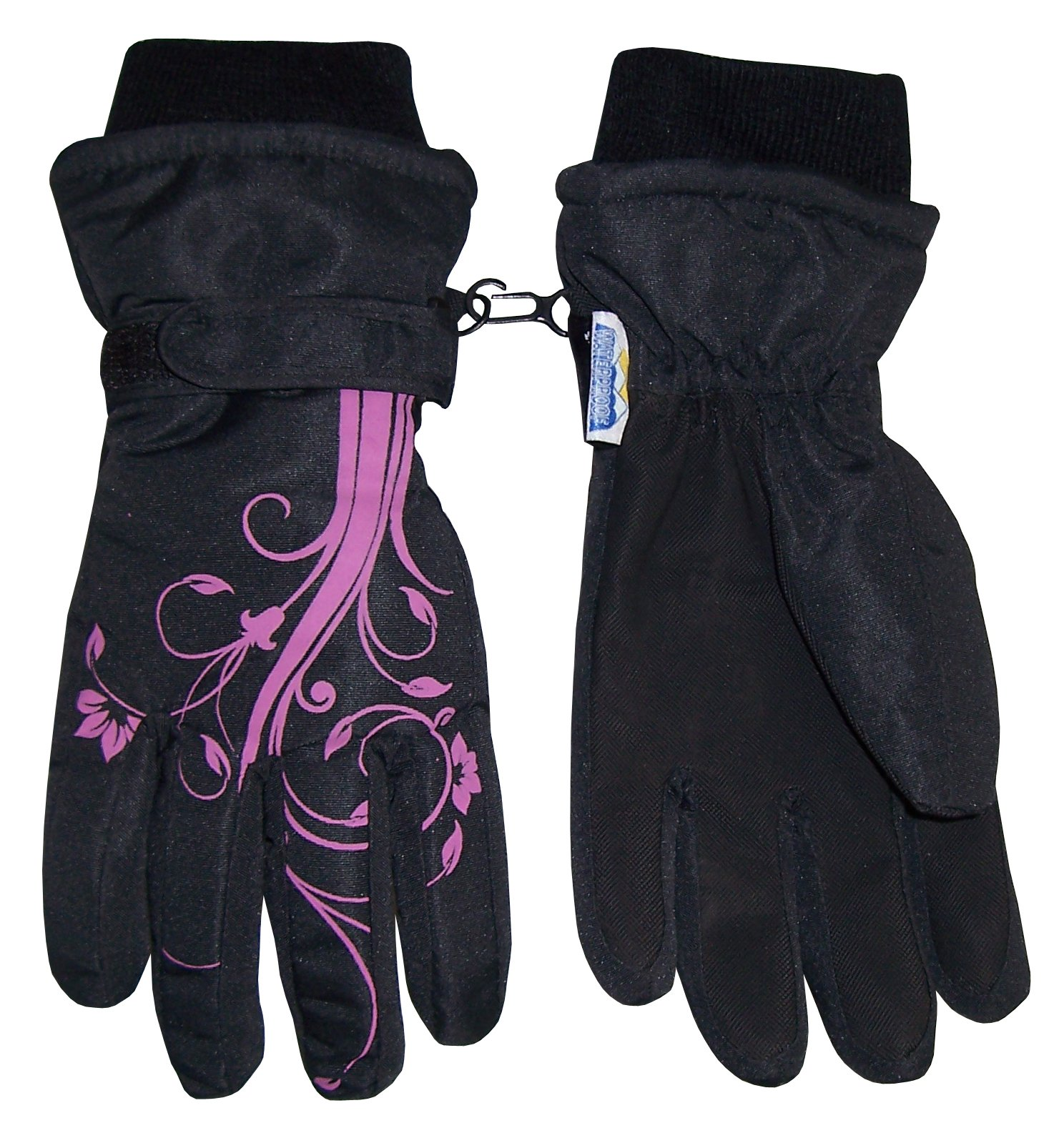 NICE CAPS Girls Thinsulate and Waterproof Winter Gloves with Flower Tattoo Print by Winter Gloves