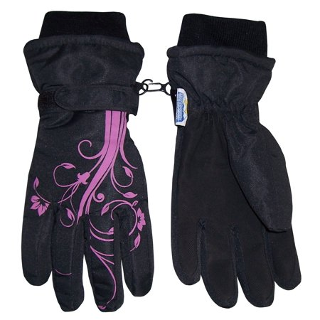 Nice Caps Girls Kids Thinsulate Waterproof Winter Flower Print Snow Ski Gloves   Fits Childrens Childs Youth Toddlers For Cold Weather