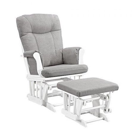 Glider Rocking Chair Ottoman - Angel Line Monterey Glider and Ottoman White Finish with Gray Cushions