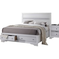Acme Naima King Storage Bed, White, Box 1 of 3