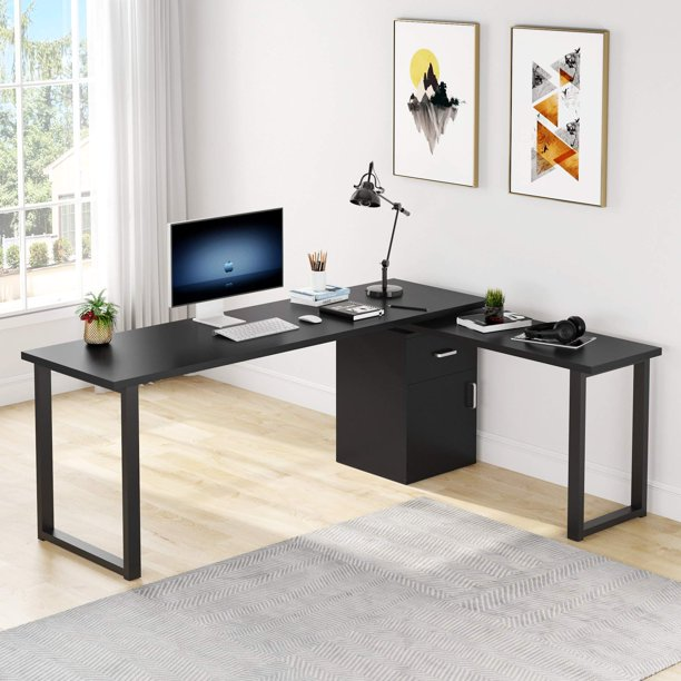 Tribesigns Reversible L Shaped Computer Desk with Storage File Cabinet