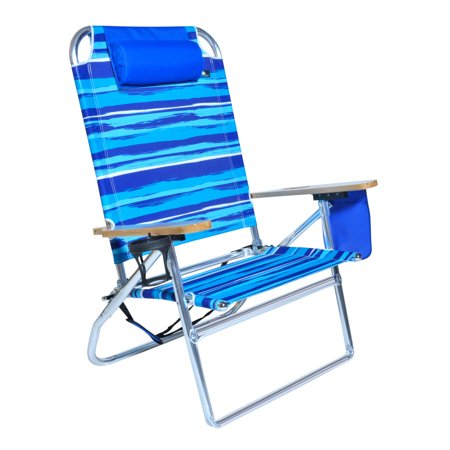 Extra Large High Seat Heavy Duty 4 Position Beach Chair W Drink Holder