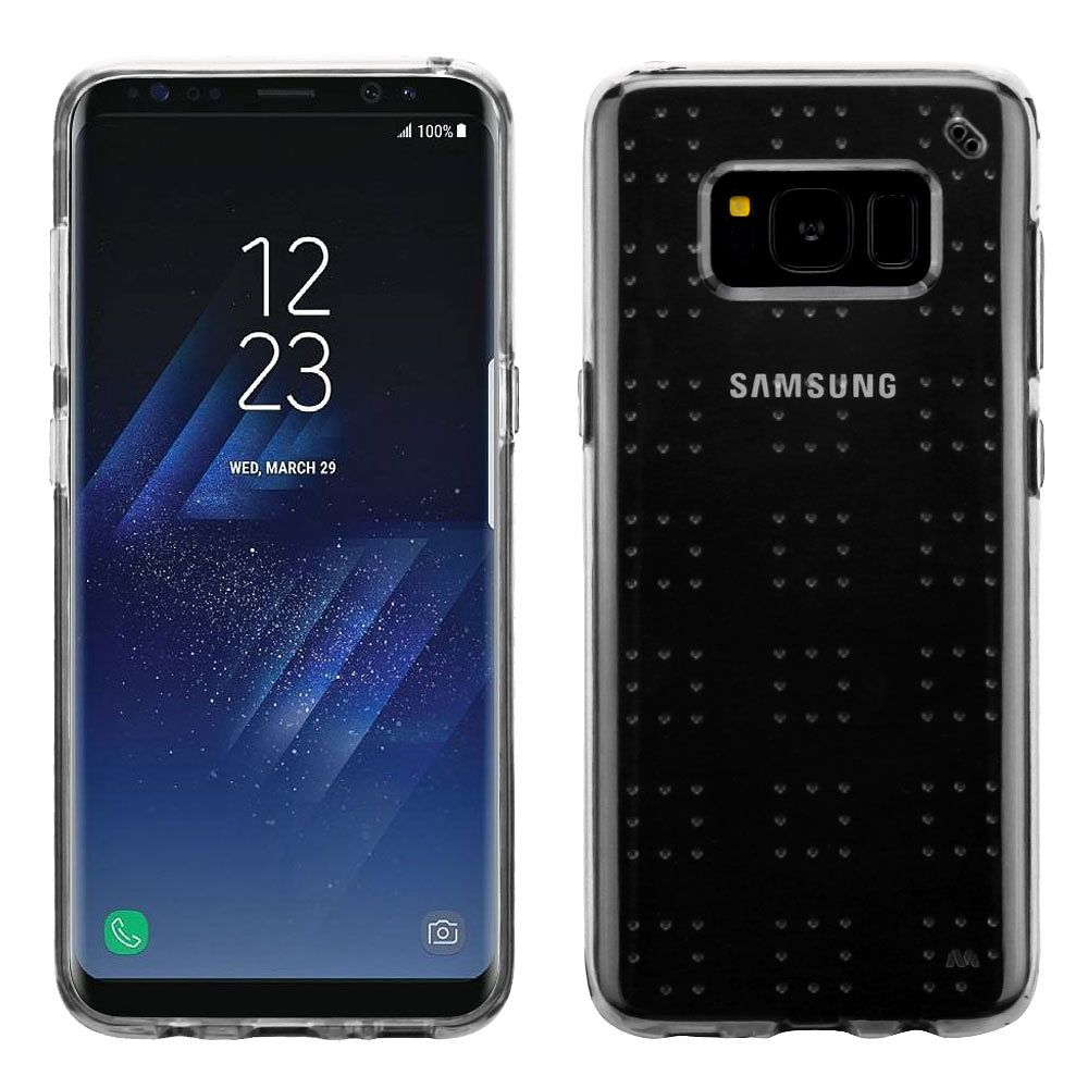 Insten Glassy Transparent SPOTS TPU Rubber Candy Skin Case For Samsung Galaxy S8 - Clear (Bundle with USB Type C Cable)
