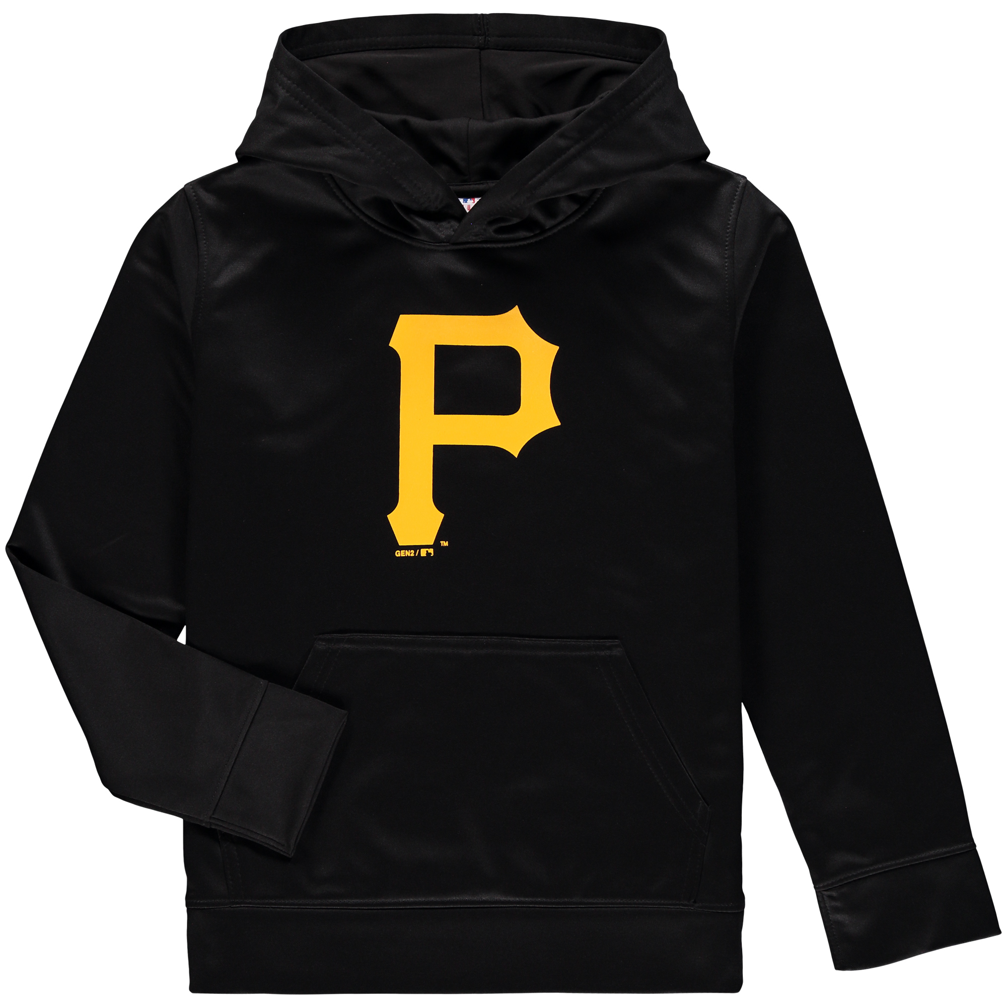 Pittsburgh Pirates Youth Team Logo Fleece Pullover Hoodie - Black