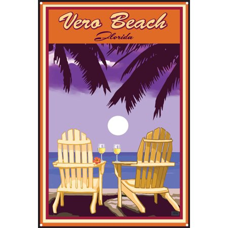 Palm Pre Metal (Vero Beach Florida Adirondack Chairs Palms White Wine Metal Art Print by Joanne Kollman (12