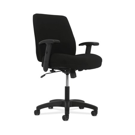 HON Network Series Mid-Back Task Chair - Swivel-Tilt Computer Chair for Office Desk, Black Fabric (HVL282.Z1)