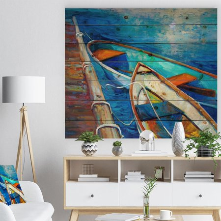 DESIGN ART Designart 'Boats and Pier in Blue Shade' Seascape Print on Natural Pine Wood ()