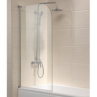 "Mecor 55""X31"" Bathtub Shower Door 1/4"" Clear Glass Hinged Pivot Radius Frameless Chrome Finish"