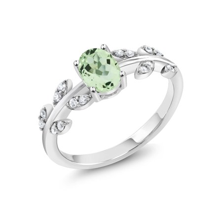 0.96 Ct Oval Green Prasiolite 925 Sterling Silver Olive Vine Ring