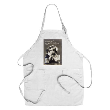 Little Girl by Open Champagne Bottle (Cotton/Polyester Chef's Apron)](Little Bottles Of Champagne)