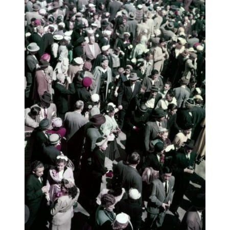 High Angle View Of Crowded Street Canvas Art     24 X 36