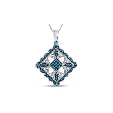 1/4 Carat (ctw I2-I3) Blue  and White Diamond Pendant Necklace in 10K White Gold with Chain - image 1 de 1