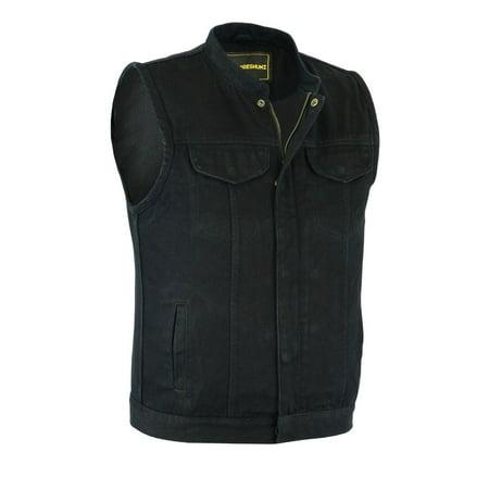 Mens Cow Pocket Vest (Men's Motorcycle Biker Denim SOA Club Style Vest with Dual inside Gun Pockets)