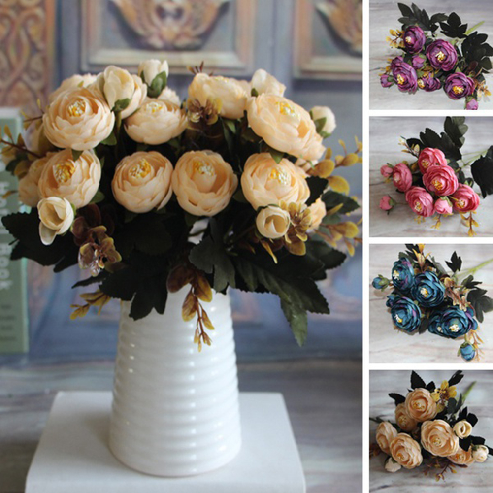 Moderna 1 Bouquet Artificial flower Tea Rose Faux Silk Cloth Flowers Hotel Room Wedding home Decor