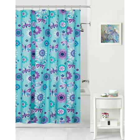 Mainstays Kids Butterfly Floral Coordinating Fabric Shower Curtain ()
