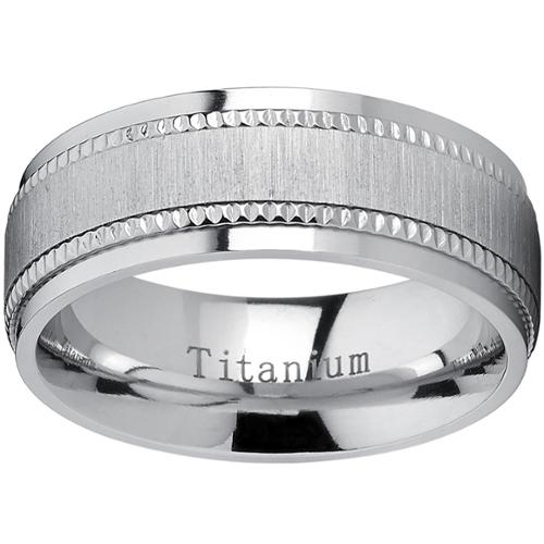 Oliveti Titanium Men's Comfort-fit Brushed Milgrain Wedding Band Size 10
