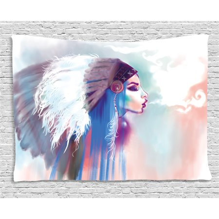 Native American Tapestry, Girl Smoking Pipe with Traditional Clothes Abstract Watercolor Background, Wall Hanging for Bedroom Living Room Dorm Decor, 60W X 40L Inches, Multicolor, by Ambesonne - Native Girls