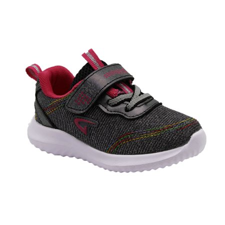 Geers Girls Toddler 3880 Velcro Strap Casual Fashion Sparkle Sneaker - (5 M US Toddler, Grey Fuchsia)