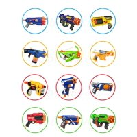 Nerf Toys Blaster Guns Edible Cupcake Toppers (12 Images)