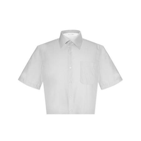 - Biagio 100% Cotton Men's Short Sleeve Solid SILVER GREY Color Dress Shirt