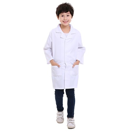 TopTie Kids White Lab Coats Child Costume for Scientists or Doctors, 2 Pockets-White-5/6 - Kid Size Lab Coats