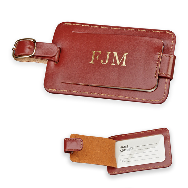 Personalized Monogrammed Brown Leather Luggage Tag W/Snap